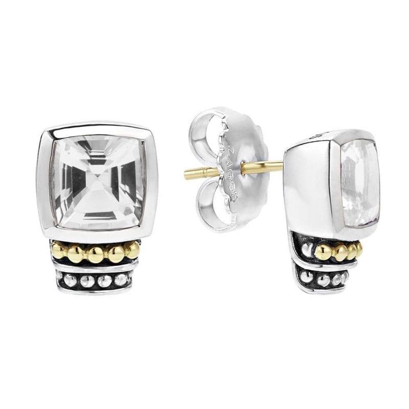 Lagos Caviar White Topaz Stud Earrings