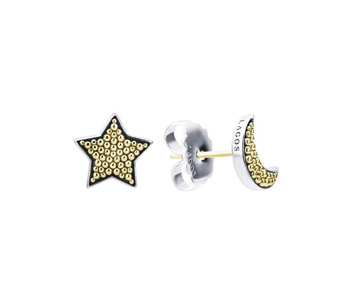 Lagos Signature Caviar Moon and Star Stud Earrings