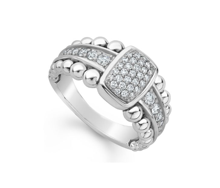 Front view of ring. A rectangular center station is encrusted with pave diamonds, additional pave diamonds line the center of the sterling silver shank with beaded details on either side.