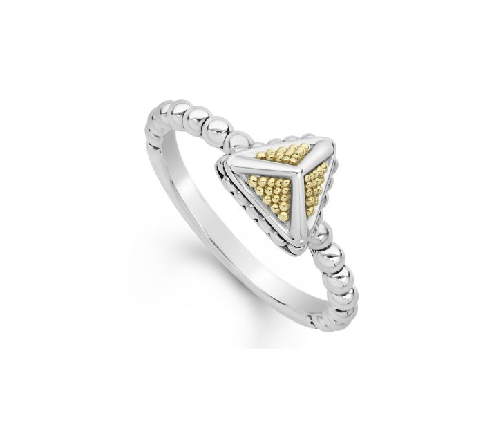 Front view of ring. A sterling silver triangle is studded with yoellow gold beaded detailing and has bands of silver fanning out from the corners to meet in the center. Attached to a silver beaded shank.