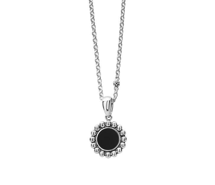 Lagos Black Onyx Maya Circle Pendant Necklace