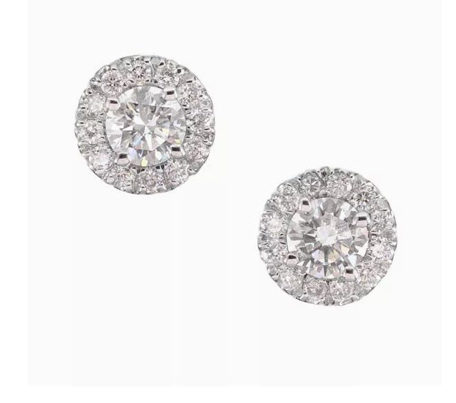 Forevermark Center Of My Universe Halo Stud Earrings in 18k White Gold