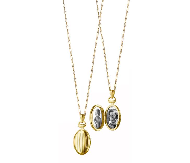 Monica Rich Kosann Petite Pinstripe Locket in 18kt Yellow Gold