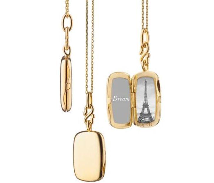 Monica Rich Kosann Slim 'Britt' Rectangle Locket in 18k Yellow Gold