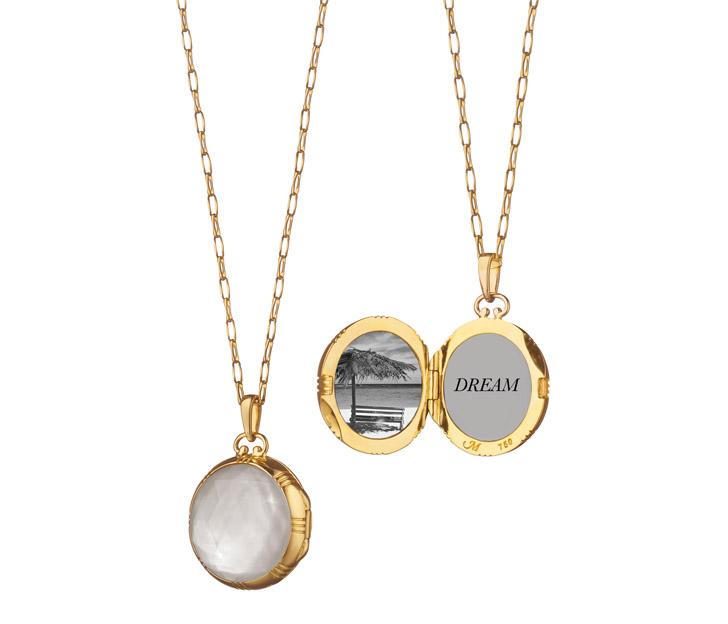 Monica Rich Kosann Petite Blue Topaz Locket Necklace