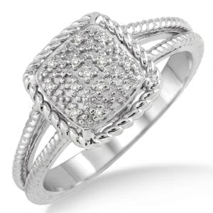 Sterling silver ring with rope textured split shank and a pave diamond cushion shaped center bordered by roped edging.