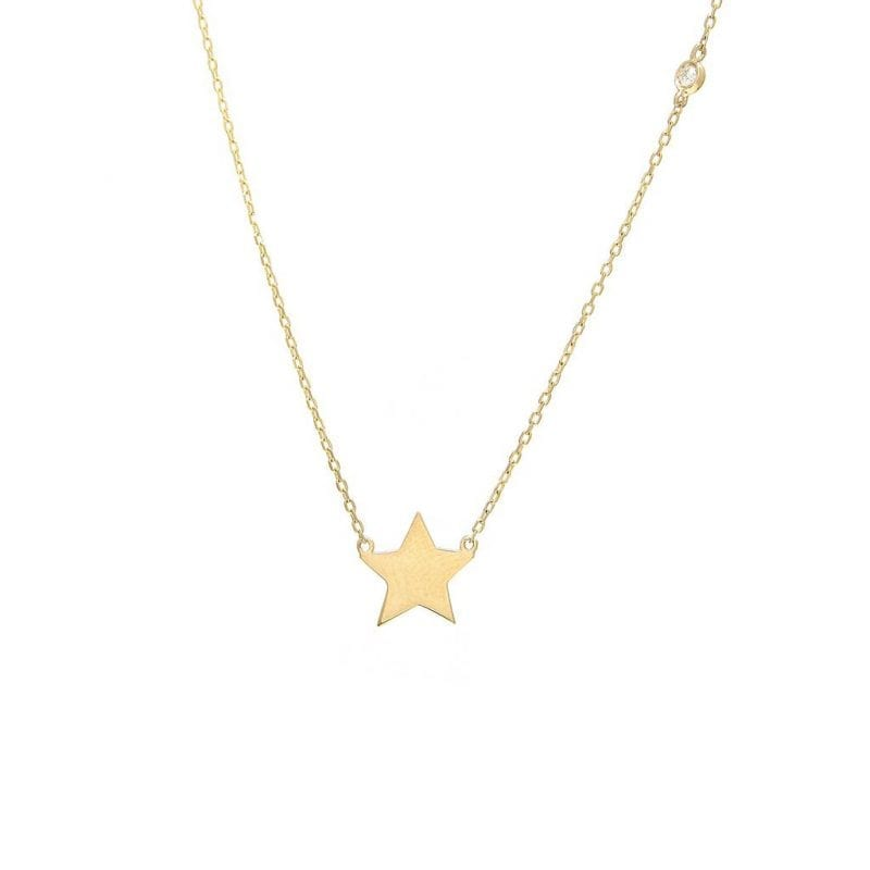 Star Necklace with Diamond in 14kt Yellow Gold