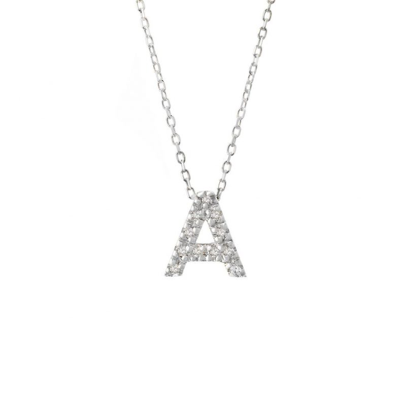 Sterling Silver Diamond Initial Pendant Necklace