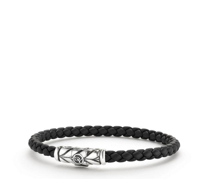 Chevron Woven Rubber Bracelet in Black, 6mm