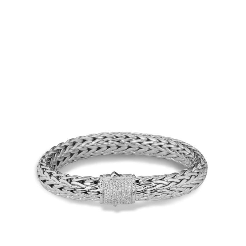 John Hardy Sterling Silver Large Classic Chain Bracelet with Pave Diamond Clasp, Size Medium