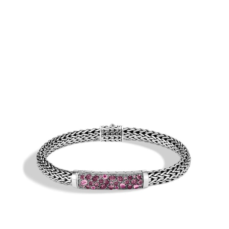 John Hardy Sterling Silver Classic Chain Bracelet with Pink Spinel, Dark Pink Tourmaline and Pink Garnet