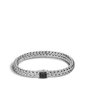 John Hardy Classic Chain Medium Bracelet with Black Sapphires