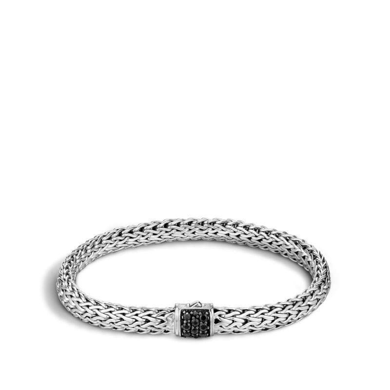 John Hardy Sterling Silver Small Classic Chain Lava Bracelet with Pave Black Sapphire