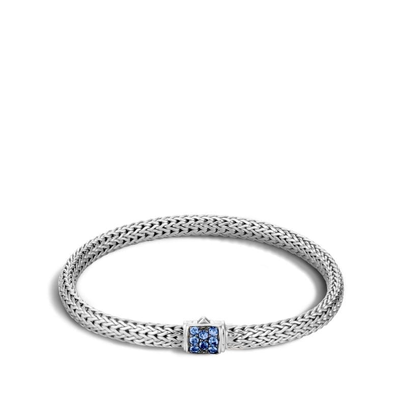 John Hardy Sterling Silver Extra Small Classic Chain Lava Bracelet with Blue Sapphires