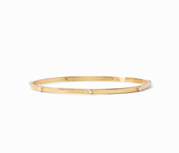 Julie Vos 24kt Yellow Gold Plate Crescent Bangle in Pearl