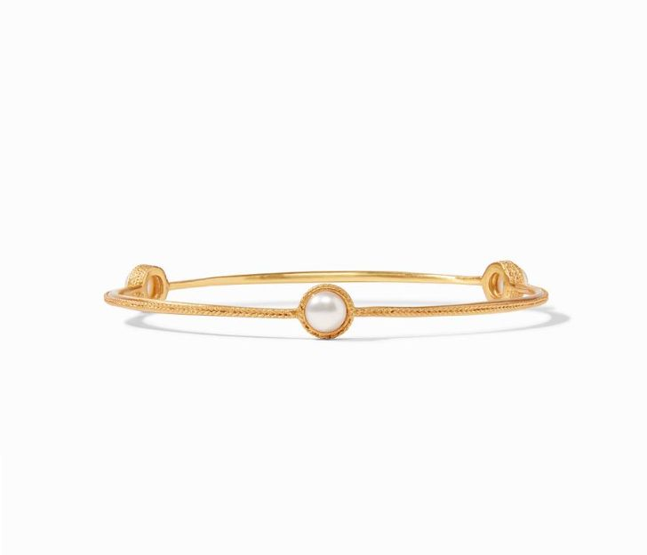 Julie Vos 24kt Yellow Gold Plate Pearl Calypso Demi Bangle