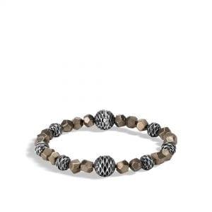 John Hardy Men's Sterling Silver Naga Pyrite Bead Bracelet