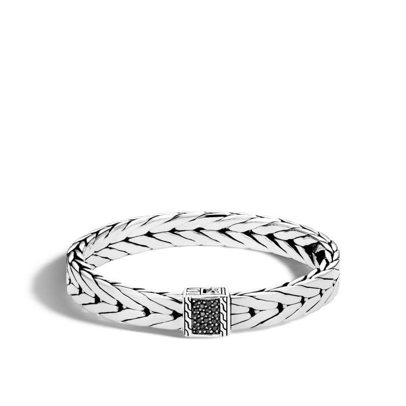 John Hardy Men's Sterling Silver Modern Chain Medium Bracelet with Black Sapphires