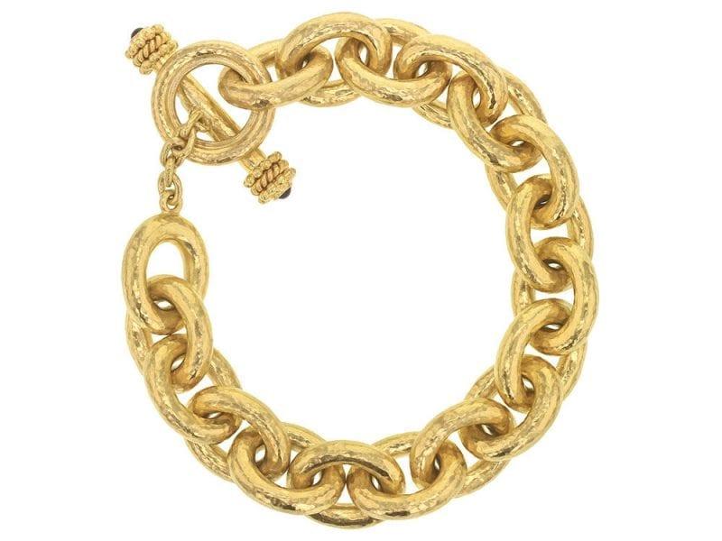 Elizabeth Locke 19kt Yellow Gold Heavy Oval Link Toggle Bracelet