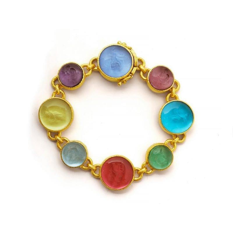 Elizabeth Locke 19k Yellow Gold Venetian Glass Intaglio Pastel Bracelet
