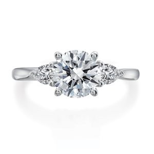 Three Stone Engagement Ring Setting with Pear-shaped Side Stones