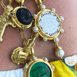 gold and colored pendants