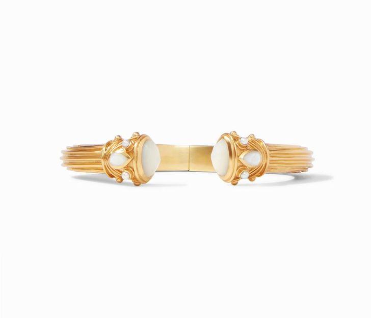 Julie Vos 24kt Yellow Gold Plate Byzantine Demi Hinge Cuff Bracelet