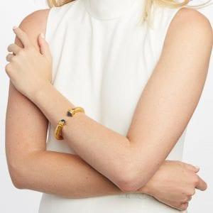 Julie Vos 24kt Gold Plate Demi Savannah Hinge Bangle Bracelet in Pearl