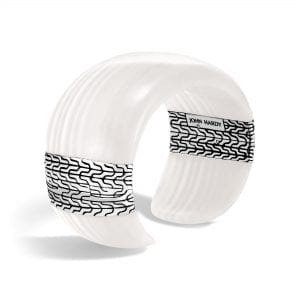 John Hardy Sterling Silver Classic Chain Kick Cuff with White Agate