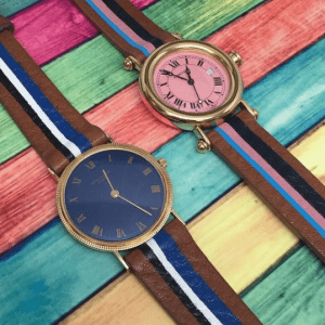 two multicolored watches