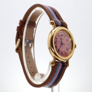 Pre-Owned Cartier 1995 18k Yellow Gold Diabolo with Custom Flamingo Dial