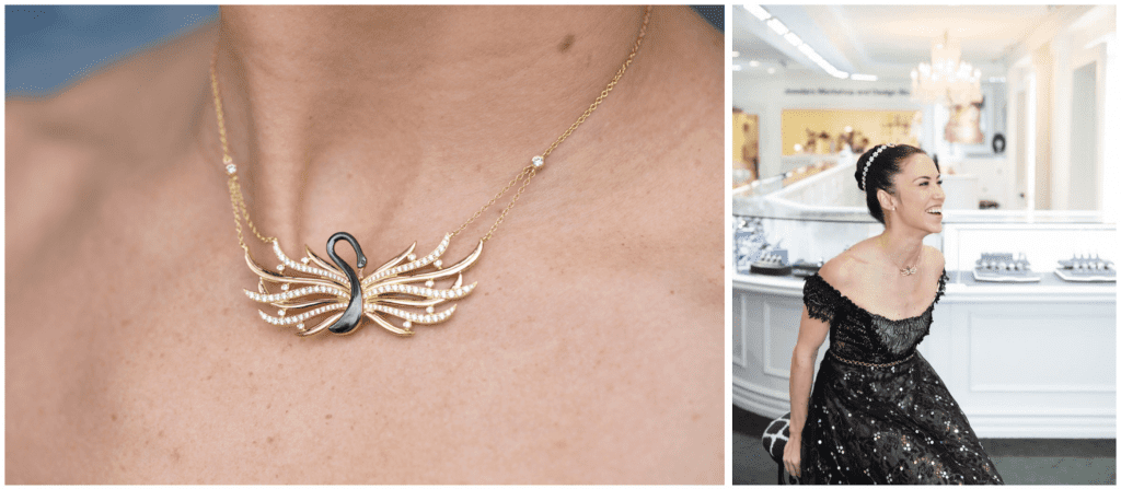 Image on the left is a closeup of a custom necklace with a black swan design, and image on the right is a woman in a ballerina dress wearing the custom necklace