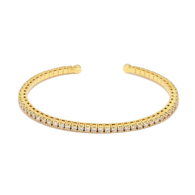 Diamond Flex Cuff Bracelet in 14k Yellow Gold