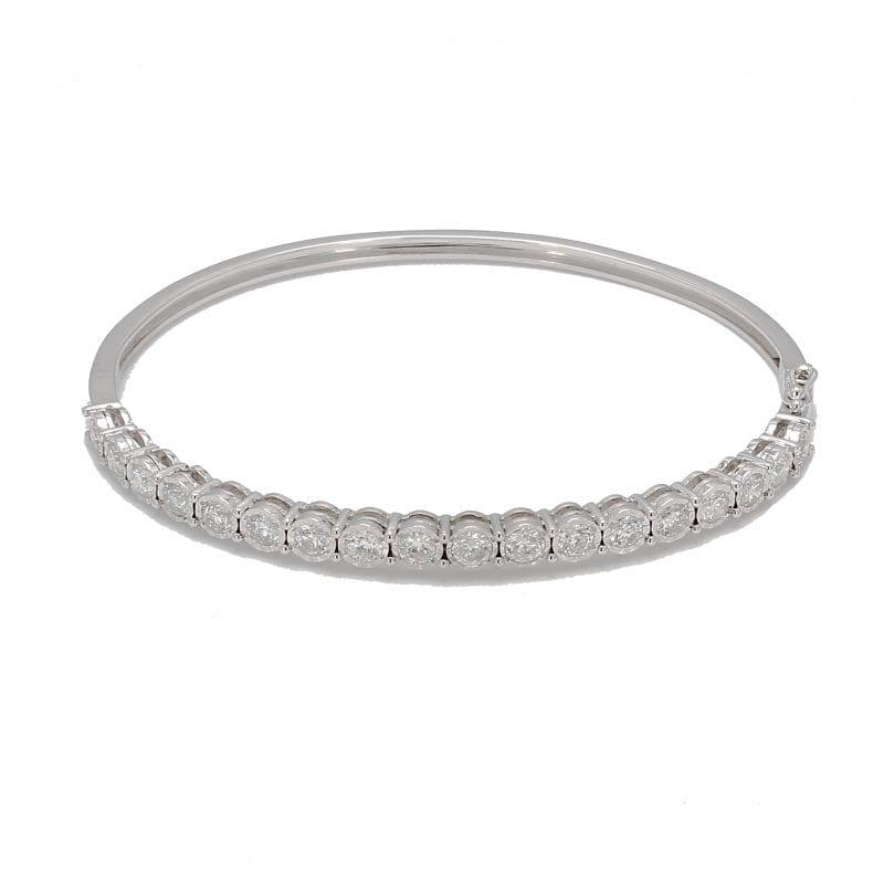 Fluted Diamond Bracelet in 14k White Gold