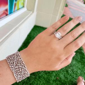 diamond bracelet and rings on model