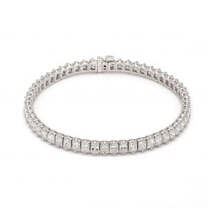 Radiant Cut Diamond Tennis Bracelet in 18k White Gold