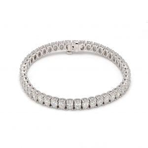 Oval Diamond Tennis Bracelet in 18k White Gold
