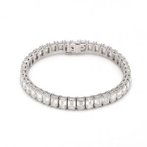 Emerald Cut Diamond Tennis Bracelet in 18k White Gold