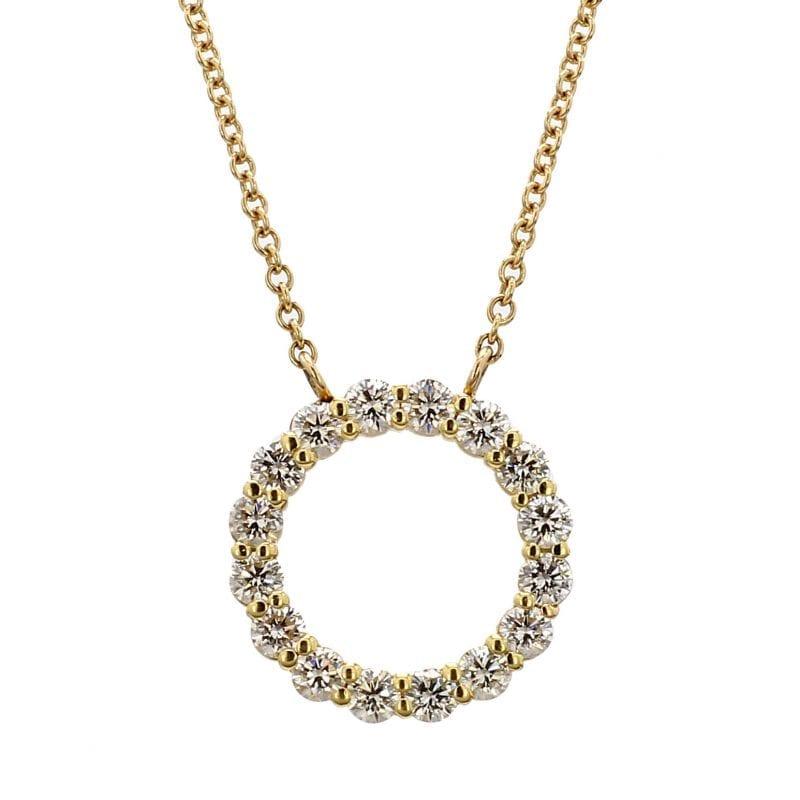 Open Circle Diamond Pendant Necklace