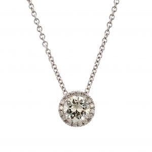 Round Diamond Halo Pendant Necklace in 18k White Gold
