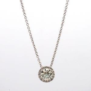 Diamond Halo Pendant Necklace in 18k White Gold