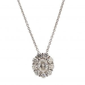 Diamond Halo Oval Pendant Necklace in 18k White Gold