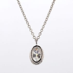 Oval Diamond Halo Pendant Necklace in 18k White Gold