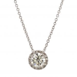 Diamond Halo Necklace in 18k White Gold