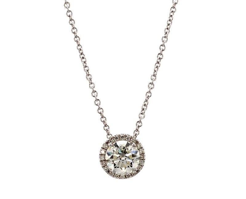 Round Diamond Halo Necklace in 18k White Gold