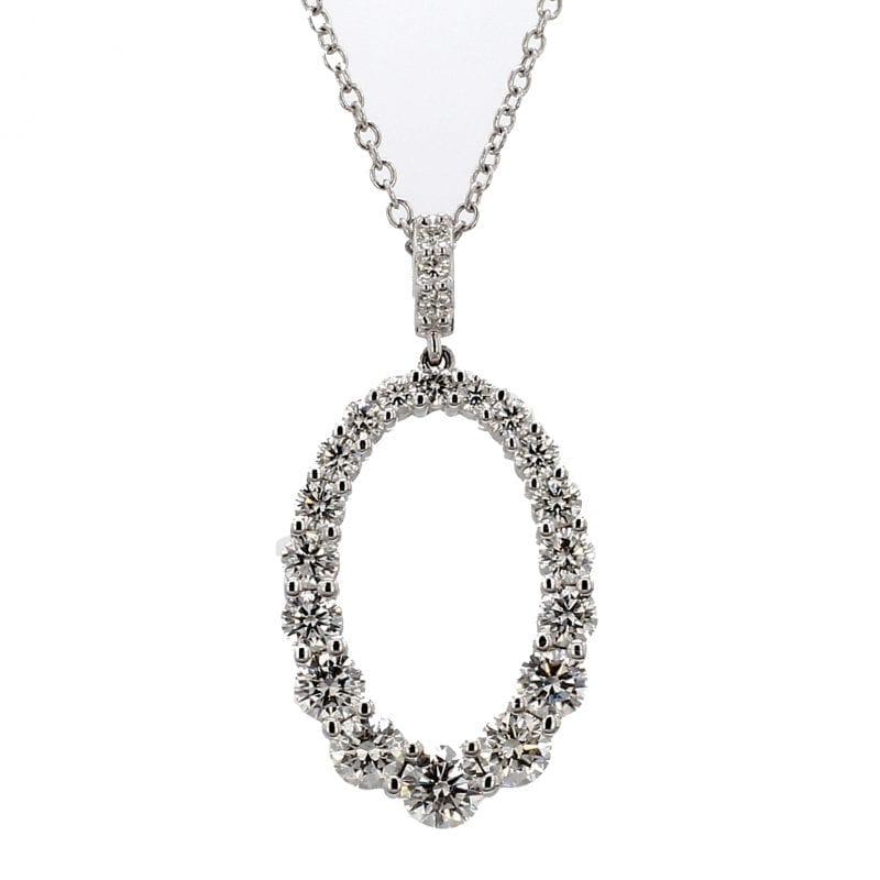 Forevermark Oval Diamond Pendant Necklace in 18k White Gold