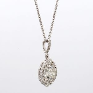 Marquise Diamond Halo Pendant Necklace in 18k White Gold