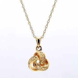 """Bailey's Icon Collection 16"""" Diamond Love Knot Pendant in 14k Yellow Gold"""