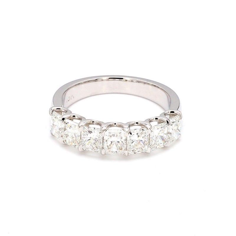 Radiant Cut Diamond Seven Stone Ring in 18k White Gold