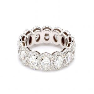 Halo Oval Cut Diamond Eternity Ring in 18k White Gold